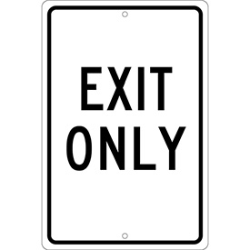 Aluminum Sign - Exit Only - .063 mm Thick