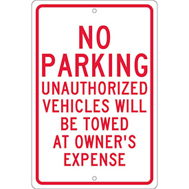 Aluminum Sign - No Parking Unauthorized Vehicles - .063mm Thick