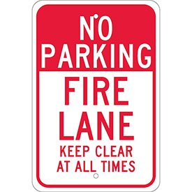 "Aluminum Sign - Fire Lane Keep Clear - .080"" Thick, TM47J"