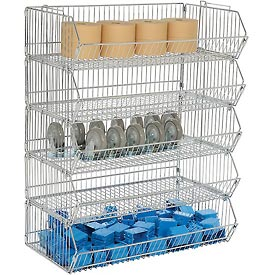 "Modular Wire Stacking Bin Basket Rack, 36""W x 20""D x 45""H, 5 Wire Bins"