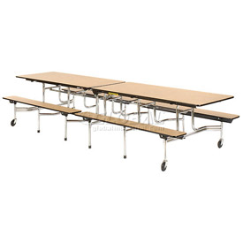 "Virco® Cafeteria Table with Benches - 120""L - Oak Top"