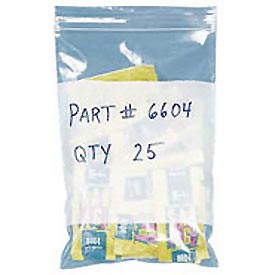 "Zipper-Lock Poly Bags With Write-On Label 10"" x 8"" 2 Mil 1,000 Pack"