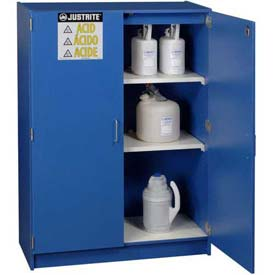 "Justrite 49 x 2-1/2 Liter Bottle Cap., Wood Laminate Storage Acid Cabinet, 42""Wx17-7/8""Dx60""H, Blue"
