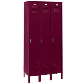 Penco 6113V-3-736-KD Vanguard Locker Pull Latch Single Tier 12x15x60 3 Doors Unassembled Burgundy