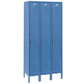 Penco 6173V-3-806KD Vanguard Locker Pull Latch Single Tier 15x18x72 3 Doors Unassembled Marine Blue