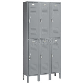 Penco 6235V-3-028KD Vanguard Locker Pull Latch Double Tier 12x18x36 6 Doors Unassembled Gray