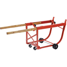 Heavy Duty Rotating Drum Cradle with Wood Handles & Steel Wheels