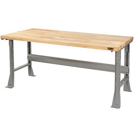 "72""W x 36""D Extra Long Industrial Workbench, Maple Butcher Block Square Edge - Gray"