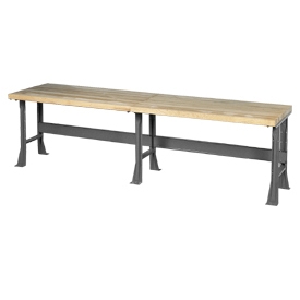 "144""W x 30""D Extra Long Industrial Workbench, Maple Butcher Block Square Edge - Gray"