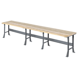 """216""""W x 36""""D Extra Long Industrial Workbench, Maple Butcher Block Square Edge - Gray"""
