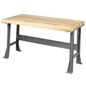 "60""W x 30""D Extra Long Industrial Workbench, Shop Top Safety Edge - Gray"