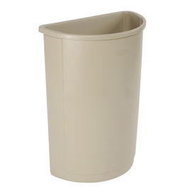 21 Gallon Half Round Rubbermaid Waste Receptacle - Beige