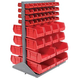 Mobile Double Sided Floor Rack With 88 Red Stacking Bins 36 x 54