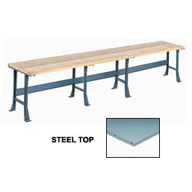 "180"" W x 30"" D Extra Long Production Workbench, Steel Square Edge - Gray"