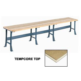 "180"" W x 36"" D Extra Long Production Workbench, Shop Top Square Edge - Gray"