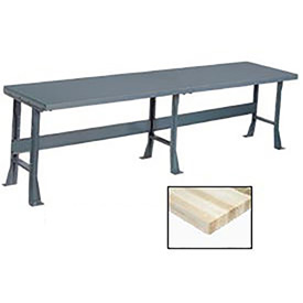 "144"" W x 36"" D Extra Long Production Workbench, Maple Butcher Block Square Edge - Gray"