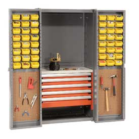 Security Work Center & Storage Cabinet With Peboards, 5 Drawers & 64 Yellow Bins