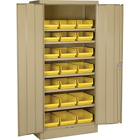 "Locking Storage Cabinet 30""W X 15""D X 66""H With 21 Yellow Shelf Bins and 6 Shelves Assembled"