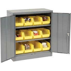 "Locking Storage Cabinet 36""W X 18""D X 42""H With 12 Yellow Stacking Bins and 2 Shelves Assembled"