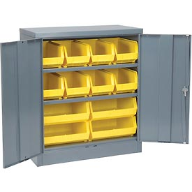 """Locking Storage Cabinet 36""""W X 18""""D X 48""""H With 12 Yellow Stacking Bins and 2 Shelves Assembled"""