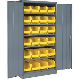 "Locking Storage Cabinet 36""W X 18""D X 72""H With 24 Yellow Stacking Bins and 6 Shelving Assembled"