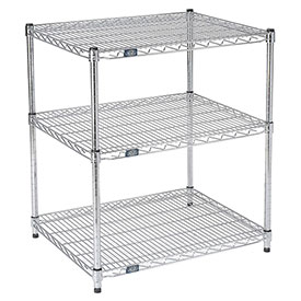 "Nexel™ 3-Shelf Wire Printer Stand, 30""W x 24""D x 34""H, Chrome"