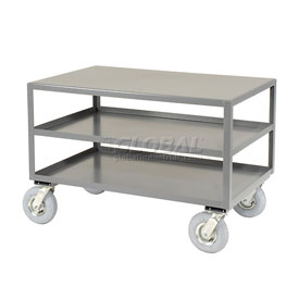 Jamco All Welded Portable Steel Table LC472 3 Shelves 72x36 1200 Lb. Capacity