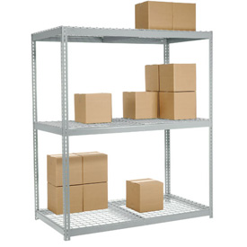 "Wide Span Rack 60""W x 24""D x 84""H With 3 Shelves Wire Deck 1200 Lb Capacity Per Level"