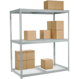 "Wide Span Rack 60""W x 36""D x 84""H With 3 Shelves Wire Deck 1200 Lb Capacity Per Level"