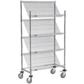 """Slant Wire Shelving Truck - 4 Shelves With Brakes - 48""""W x 24""""D x 69""""H"""
