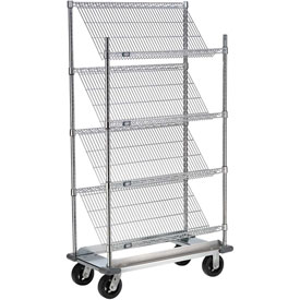 "Slant Wire Shelving Truck - 4 Shelves With Dolly Base - 48""W x 24""D x 70""H"