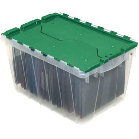"Akro-Mils Clear Attached Lid Container 66497CLGN - 21-1/2""L x 15""W x 17""H, Green Lid - Pkg Qty 3 - Pkg Qty 3"