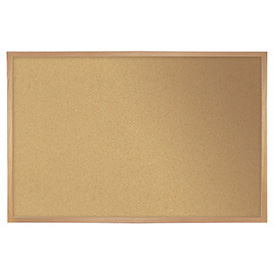 "Ghent® Cork Bulletin Board - Hardwood Oak - 24""W X 18""H"