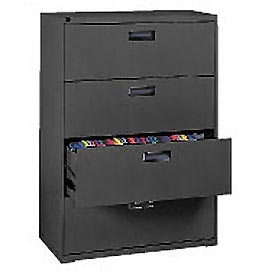 "Extra Value 4 Drawer Lateral File Cabinet 30""W X 54-5/8""H - Black"