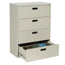 """Extra Value 4 Drawer Lateral File Cabinet 36""""W X 54-5/8""""H - Putty"""