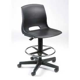 Plastic Stool - Height Adjustable - Black
