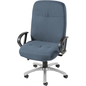 Big and Tall Chair with Fixed Arms - Fabric - High Back - Blue