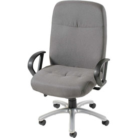 Big and Tall Chair with Fixed Arms - Fabric - High Back - Gray