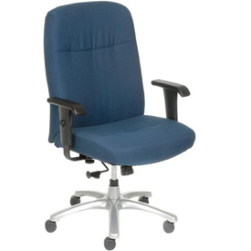 Big and Tall Chair with Arms - Fabric - High Back - Blue