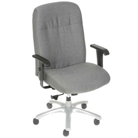 Big and Tall Chair with Arms - Fabric - High Back - Gray