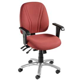 Multifunctional Office Chair with Arms - Fabric - Mid Back - Burgundy Seat Silver Base