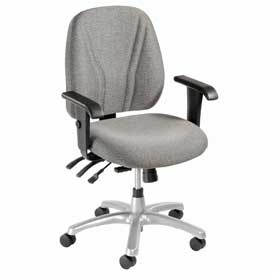 Multifunctional Office Chair with Arms - Fabric - Mid Back - Gray Seat Silver Base