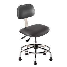 "BioFit Operator Chair - Multifunctional Control- 18""-22""H - Black Fabric - Chrome Plated Metal"