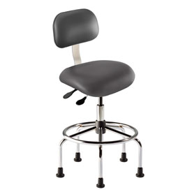 """Bio Fit Eton ET Series Manager Stool with Chrome Base, 25""""-30"""" Seat Height, Navy Fabric"""