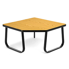 "OFM 30"" Corner Table with Sled Base, Oak"