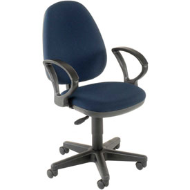 Office Chair with Fixed Arms - Fabric - Blue