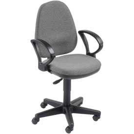 Office Chair with Fixed Arms - Fabric - Gray