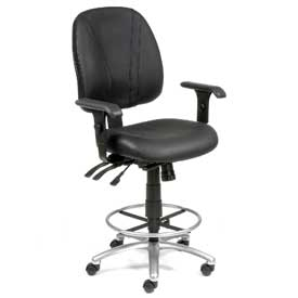 Deluxe Leather Office Stool with Arms - 360° Footrest - Black