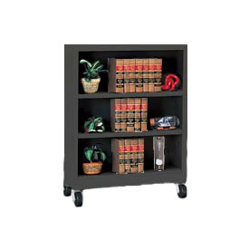 "Sandusky Steel Mobile Bookcase 36""W x 18""D x 48""H - Black"