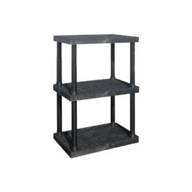 "Structural Plastic Vented Shelving, 36""W x 24""D x 51""H, Black"